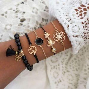 *BAHTSAIDA* 5-Pc Gold x Black Fashion Bracelet Set